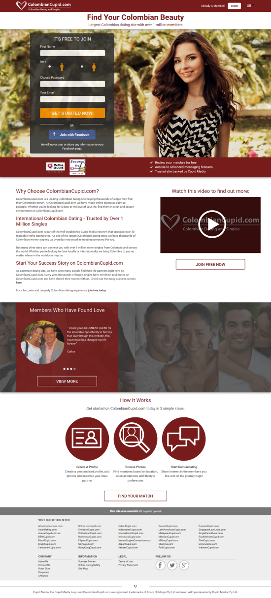 colombian dating sites Latinopeoplemeetcom is the online dating community dedicated to singles that identify themselves as latino, hispanic, chicano, spanish and more.