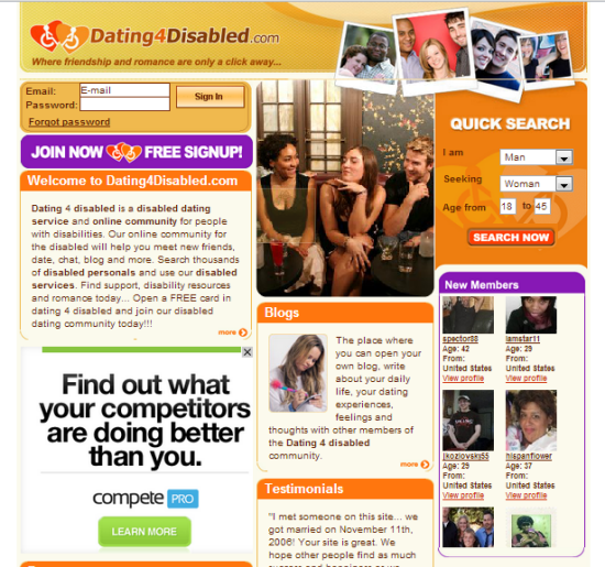 singles dating site with disabilities Disabled matchmaking is a new site helping handicapped adults meet other physically or mentally challenged singles for dating and mating fun don't be alone anymore, disabled matchmaking.