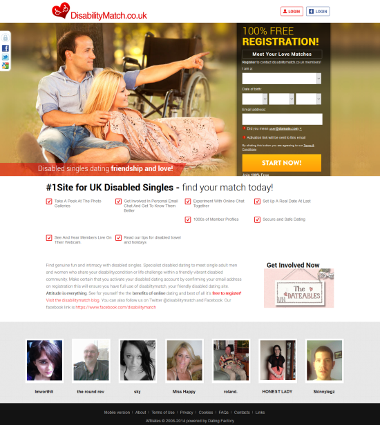 dating websites for adults with disabilities Disabled passions gives people who are part of the disabled community a place to find one another you are welcome to use disabled passions solely as a dating site, since it has all the major features found on mainstream dating sites (eg photo personals, groups, chat, webcam video, email, forums, etc.